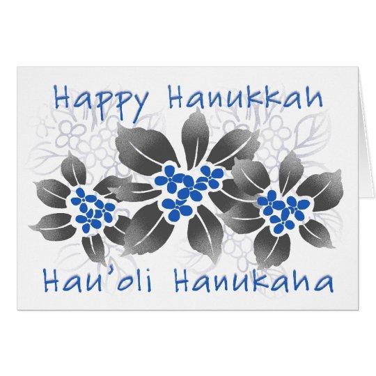 Hawaiische Stechpalmen-Chanukka-blaues Blumen Karte