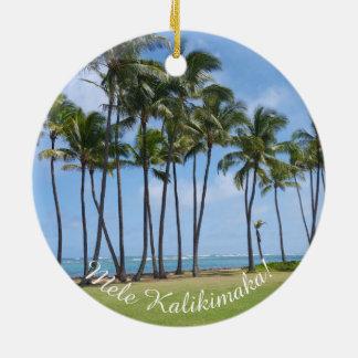 Hawaiische Weihnachtsverzierung Rundes Keramik Ornament