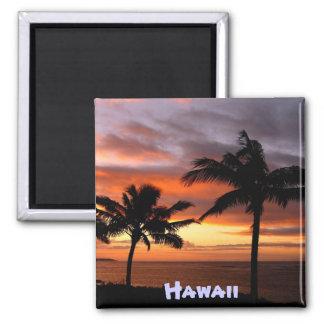 Hawaiischer Sonnenuntergangmagnet Quadratischer Magnet