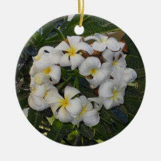 Hawaiischer WeihnachtsPlumeria Keramik Ornament