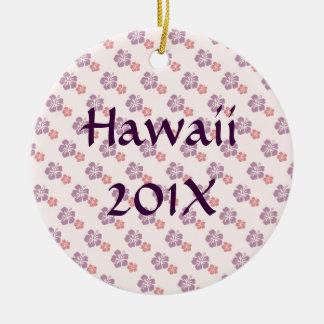 Hawaiisches Blumenrosa und lila Keramik Ornament