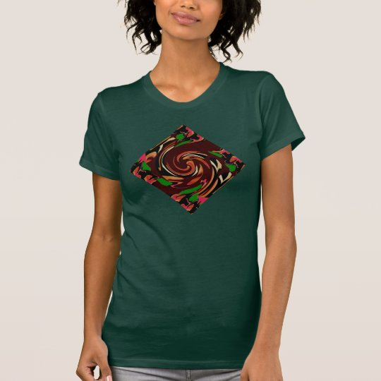 Hawaiisches Diamant-Mode-Shirt 4 sie auf Grün/Rosa T-Shirt