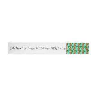 Hawaiisches Tiki Wiederholungs-Muster Rundum-Adressaufkleber