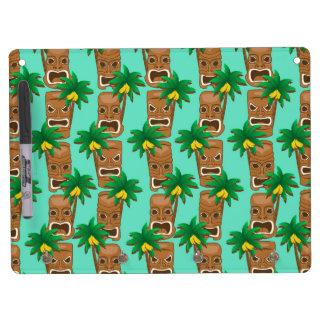 Hawaiisches Tiki Wiederholungs-Muster Trockenlöschtafel Mit Schlüsselanhängern