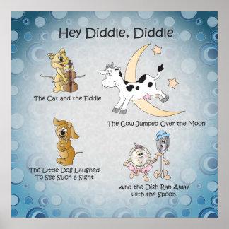 He Diddle, Diddle Kinderzimmer-Reim-Kunst Poster