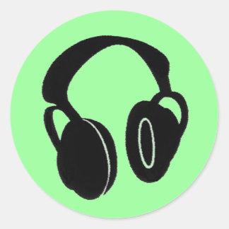 Headphones1-0 Runder Aufkleber