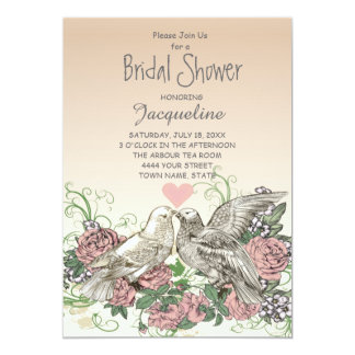 Heart Doves Rose Pink Romance Bridal Shower 12,7 X 17,8 Cm Einladungskarte