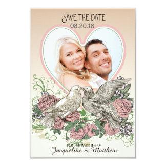 Heart Doves Rose Pink Romance Photo Save the Date 8,9 X 12,7 Cm Einladungskarte