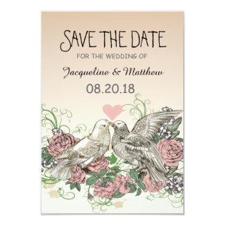 Heart Doves Rose Pink Romance - Save the Date 8,9 X 12,7 Cm Einladungskarte
