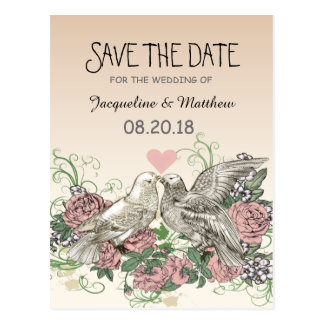Heart Doves Rose Pink Romance - Save the Date Postkarten