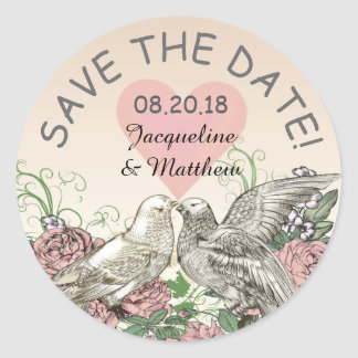 Heart Doves Rose Pink Romance Save the Date Runder Aufkleber