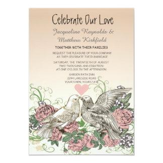Heart Doves Rose Pink Romance Wedding 12,7 X 17,8 Cm Einladungskarte