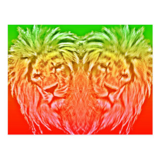 HEART LION RASTA POSTKARTE