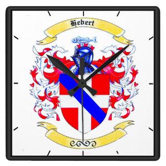 Hébert Familienwappenheirloom-Uhr Quadratische Wanduhr