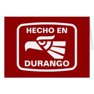 Hecho en Durango personalizado Gewohnheit Karte