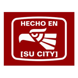 HECHO EN (SU CIUDAD) POSTKARTE