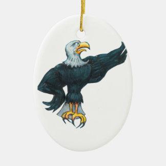 Heftiger Amerikaner Eagle Ovales Keramik Ornament