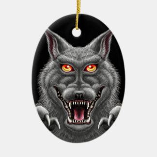 Heftiger Werewolf Ovales Keramik Ornament