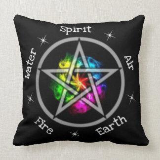 Heidnischer Wiccan elementarer Pentagram Zierkissen
