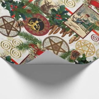 Heidnischer Yuletide u. Vintages viktorianisches Geschenkpapier