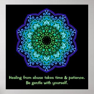 Heilen vom Missbrauchs-Mandala-inspirierend Plakat