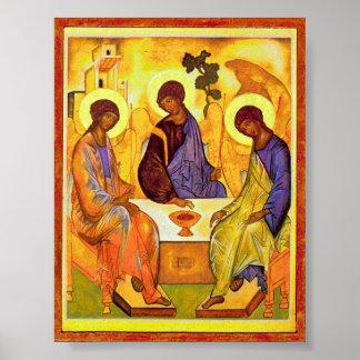 Heilige Dreifaltigkeit durch Andrei Rublev. Großes Poster