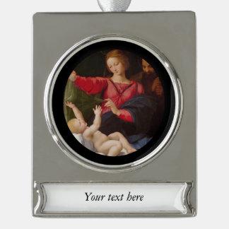 Heilige Familie Madonna von Loreto Banner-Ornament Silber