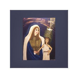 Heilige Mutter und junger Jesus Leinwanddruck