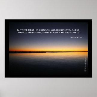 """""""Heilige Wörter"""": Mattew 6:33 Poster"""