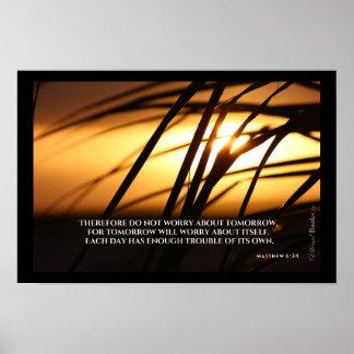 """""""Heilige Wörter"""": Mattew 6:34 Poster"""