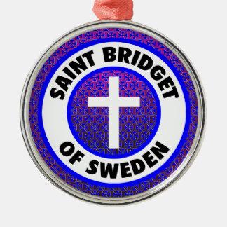 Heiliges Bridget von Schweden Rundes Silberfarbenes Ornament