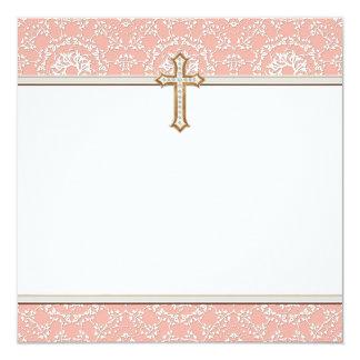 Heiliges erstes Kommunions-Goldgoldenes Quadratische 13,3 Cm Einladungskarte