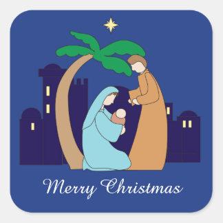 Heiliges Familienativity-Weihnachtschristliches Quadratischer Aufkleber
