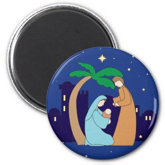 Heiliges Familienativity-Weihnachtschristliches Runder Magnet 5,7 Cm