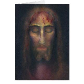 Heiliges Gesicht von Christus mit Gedicht: Sorge Mitteilungskarte