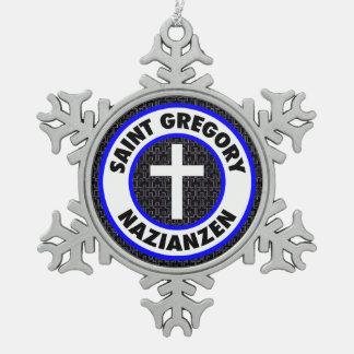 Heiliges Gregory Nazianzen Schneeflocken Zinn-Ornament