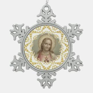 Heiliges Herz der Jesus-Goldgrenze Schneeflocken Zinn-Ornament