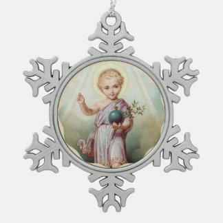 Heiliges Herz des Kindes Jesus die Welt halten Schneeflocken Zinn-Ornament