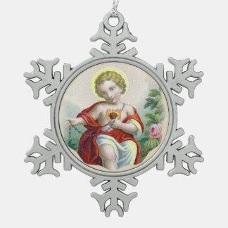 Heiliges Herz des Kindes Jesus ein Rosenbeet Schneeflocken Zinn-Ornament