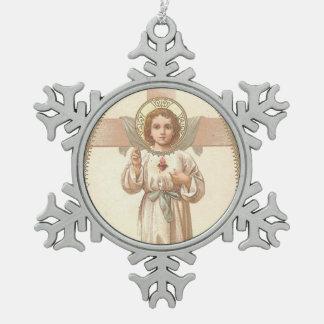 Heiliges Herz des Kindes Jesus mit Kreuz Schneeflocken Zinn-Ornament