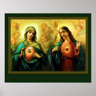 Heiliges Herz Jesus u. tadelloses Herz von Mary Poster