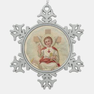 Heiliges Herz KinderjesusquerwirtChalice Schneeflocken Zinn-Ornament