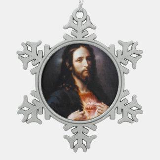 Heiliges Herz von Christus Schneeflocken Zinn-Ornament