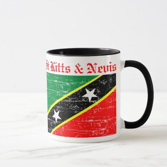 Heiliges Kitts und Nevis beunruhigte Flagge Tasse