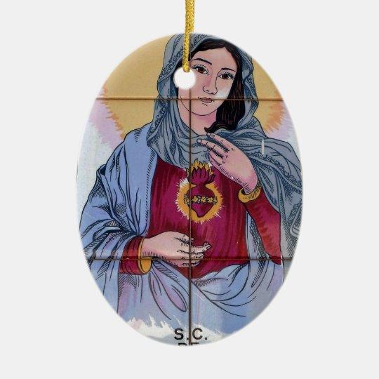 Heiliges Maria in der katholischen Kirche Ovales Keramik Ornament