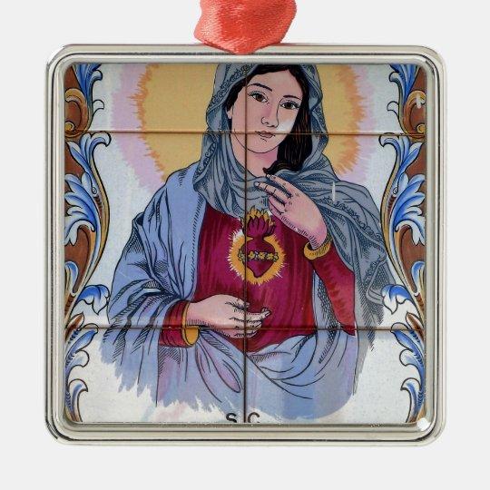 Heiliges Maria in der katholischen Kirche Quadratisches Silberfarbenes Ornament