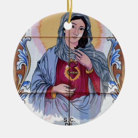 Heiliges Maria in der katholischen Kirche Rundes Keramik Ornament