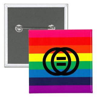 Heirat-Gleichheits-Regenbogen-Knopf Quadratischer Button 5,1 Cm