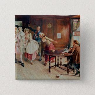 Heirat in Flotten-Straße, 1898 (Öl auf Leinwand) Quadratischer Button 5,1 Cm