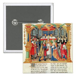 Heirat von Maria von Burgunder und von Maximilian  Quadratischer Button 5,1 Cm